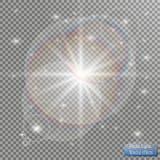 Effet de la lumière de lumière du soleil de vecteur de fusée spéciale transparente de lentille Photo stock