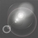 Effet de la lumière de lumière du soleil de vecteur de fusée spéciale transparente de lentille Images stock