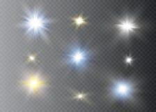 Effet de la lumière de lueur Éclat d'étoile avec des étincelles Sun Images stock
