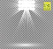 Effet de la lumière de projecteur blanc de vecteur sur le fond transparent Concertez la scène avec des étincelles illuminées par  illustration libre de droits