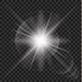 Effet de la lumière rougeoyant, fusée, explosion et étoiles illustration de vecteur