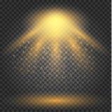 Effet de la lumière rougeoyant, fusée, explosion et étoiles illustration stock