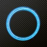 Effet de la lumière de vecteur de ligne néon de cercle Trace légère rougeoyante de fusée du feu illustration stock