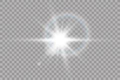 Effet de la lumi?re de lumi?re du soleil de vecteur de fus?e sp?ciale transparente de lentille ?clair de Sun avec les rayons et l illustration stock