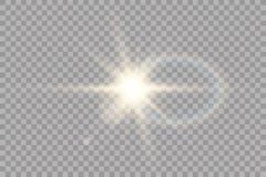 Effet de la lumi?re de lumi?re du soleil de vecteur de fus?e sp?ciale transparente de lentille ?clair de Sun avec les rayons et l illustration libre de droits