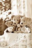 Effet de sépia de famille d'ours de nounours de style de vintage Photographie stock