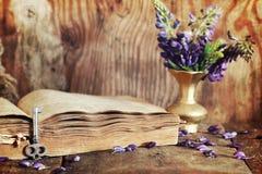 Effet de Sctrathes sur le rétro livre de photo sur la clé en bois de table Images stock