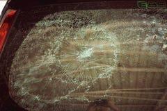 Effet en verre criqué en verre de voiture cassée Photos libres de droits