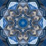 Effet floral bleu de gzhel de mandala, couleurs fraîches de kaléidoscope Image libre de droits