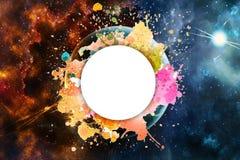 Effet galactique coloré artistique de résumé avec un texte d'attente pour écrire un texte dans lui illustration stock