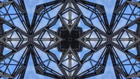 Effet kaléïdoscopique des structures de pont en métal illustration libre de droits
