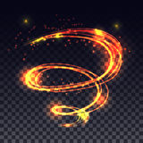 Effet léger rougeoyant de traînée de remous de magie sur le fond transparent illustration de vecteur