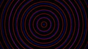 Effet rouge et bleu de signal radio et fond noir Cercles rayonnant la vague du centre illustration stock