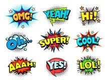 Effet sonore de bande dessinée, joie et bulles de cri de la parole d'acclamations images libres de droits