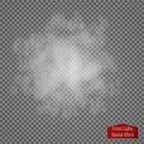 Effet spécial transparent de brouillard ou de fumée Opacité blanche de vecteur, brume ou fond de brouillard enfumé Photo stock
