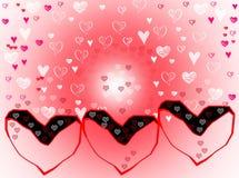 Effets blancs rouge-rose de tache floue de fond de coeurs d'amour Photographie stock libre de droits