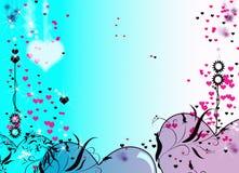 Effets bleus de tache floue de fond de texture de coeurs rouges Photos stock