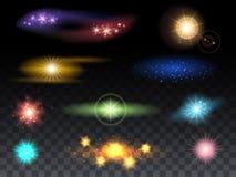 Effets de fusée de lentille et effets de la lumière rougeoyants illustration de vecteur