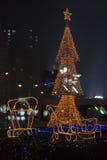 Effets de la lumière de traîneau de renne de Noël photographie stock