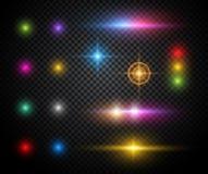 Effets de la lumière de vecteur coloré d'étincelles réglés Photo libre de droits