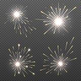 Effets magiques d'étincelle, lumières de Bengale brûlantes, ensemble de vecteur du feu de cierge magique illustration de vecteur