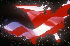 Effets spéciaux : Contour du continent des Etats-Unis comme drapeau américain Image libre de droits