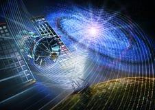 Effetti della luce e satelliti Fotografie Stock Libere da Diritti