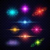 Effetti della luce realistici del chiarore della lente di colore, luci del partito di vettore messe royalty illustrazione gratis