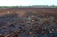 Effetti di avvelenamento o prodotti chimici e metalli pesanti di metalli pesanti in suolo dall'industriale fotografia stock