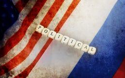 Effetto con i graffi sul Russo della foto e sulla bandiera degli S.U.A. Fotografie Stock Libere da Diritti