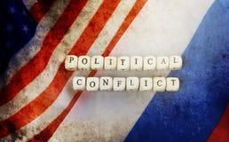 Effetto con i graffi sul Russo della foto e sulla bandiera degli S.U.A. Fotografia Stock Libera da Diritti