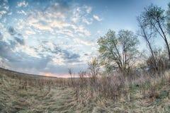 Effetto del fisheye del paesaggio di HDR di alba Fotografie Stock