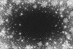 Effetto del gelo della neve su fondo trasparente Luci e fiocchi di neve bianchi luminosi astratti di luccichio Bufera di neve d'a Immagini Stock