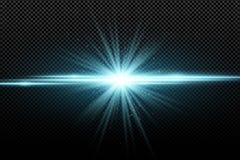 Effetto della luce alla moda astratto su un fondo trasparente Stella d'ardore luminosa Chiarori luminosi Raggi blu Esplosione Ill Fotografia Stock