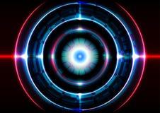 Effetto della luce astratto del cerchio del fondo di tecnologia Immagine Stock