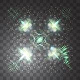 Effetto della luce di incandescenza Illustrazione di vettore Concetto istantaneo di Natale Luce magica nel cielo Fotografia Stock
