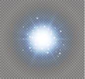 Effetto della luce di incandescenza Scoppio della stella con le scintille Illustrazione di vettore Fotografia Stock