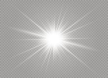 Effetto della luce di incandescenza Scoppio della stella con le scintille Illustrazione di vettore Immagine Stock Libera da Diritti