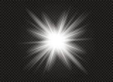 Effetto della luce di incandescenza Scoppio della stella con le scintille Illustrazione di vettore Immagine Stock