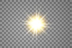 Effetto della luce di incandescenza Starburst con le scintille su fondo trasparente Illustrazione di vettore Sun illustrazione di stock