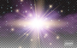 Effetto della luce magico di incandescenza trasparente Scoppio della stella con le scintille Elementi realistici di disegno Illus Immagine Stock Libera da Diritti