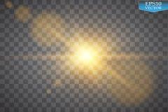 Effetto della luce speciale del chiarore della lente di luce solare trasparente di vettore Flash di Sun con i raggi ed il riflett Fotografie Stock