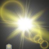 Effetto della luce speciale del chiarore della lente di luce solare trasparente di vettore Flash di Sun con i raggi ed il riflett illustrazione di stock