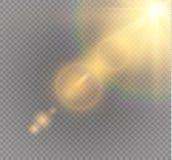 Effetto della luce speciale del chiarore della lente di luce solare trasparente di vettore Flash di Sun con i raggi ed il riflett illustrazione vettoriale