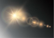 Effetto della luce speciale del chiarore della lente di luce solare trasparente di vettore Flash di Sun con i raggi ed il riflett Fotografia Stock