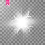 Effetto della luce speciale di energia di esplosione astratta bianca di scossa con la scintilla Mazzo del fulmine di potere di in royalty illustrazione gratis