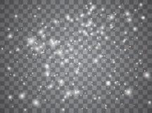 Effetto della luce speciale di scintillio bianco delle scintille Il vettore scintilla su fondo trasparente Particelle di polvere  immagini stock