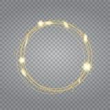 Effetto della luce trasparente di incandescenza Scoppio della stella con le scintille Scintillio verde Fotografia Stock Libera da Diritti