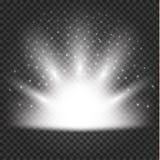 Effetto delle luci d'ardore, chiarore, esplosione e stelle illustrazione di stock