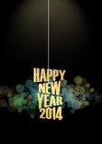 Effetto delle luci del testo del nuovo anno 2014 Fotografia Stock